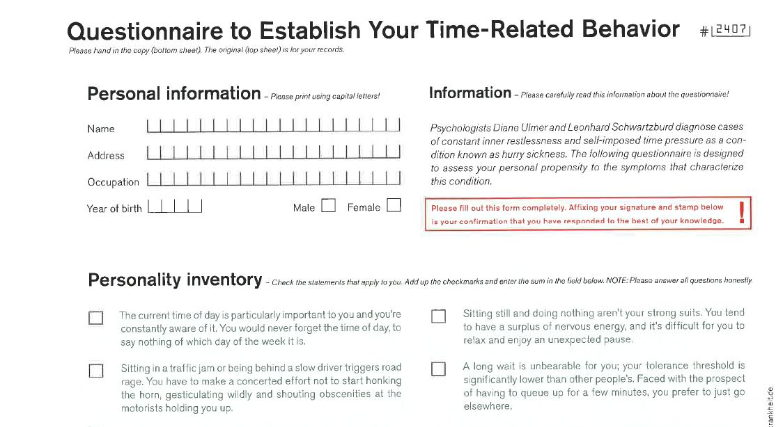 Questionnaire to Establish Your Time-Related Behaviour preview