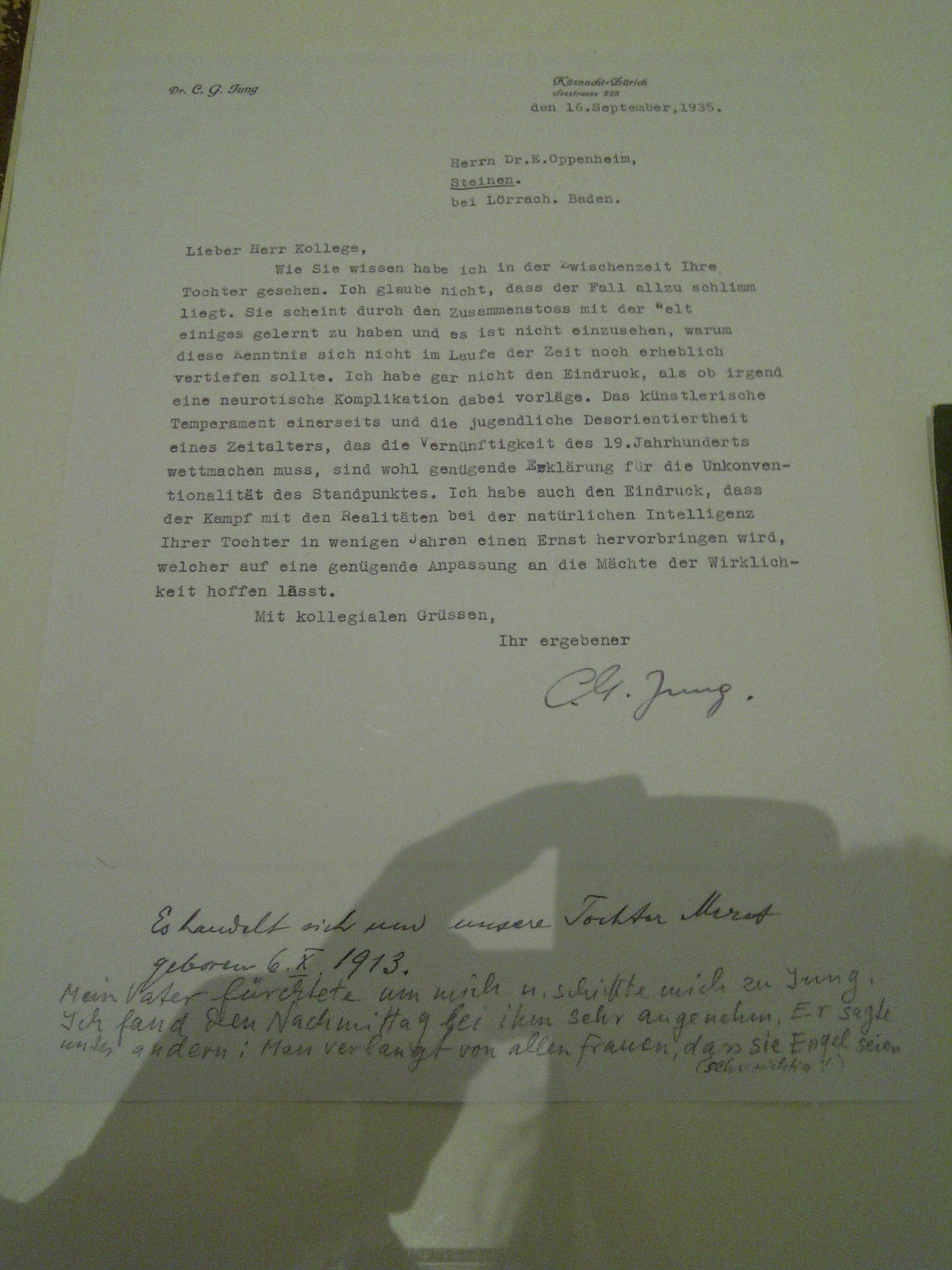 CGJung Brief über Meret Oppenheim