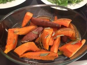 Süßkartoffel und Kürbis mit Salbei