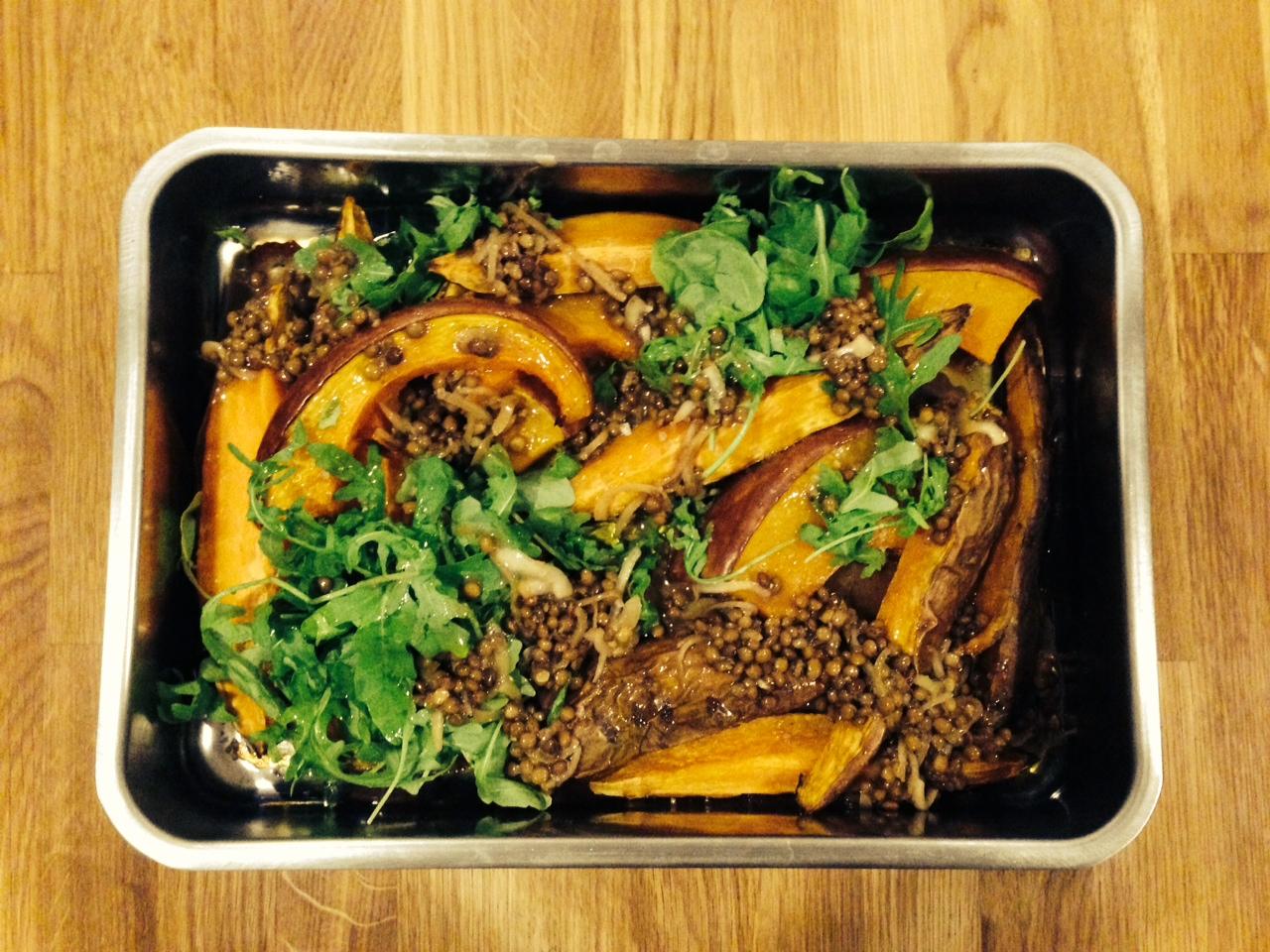 Kürbis Süßkartoffeln mit Balsam-Linsen