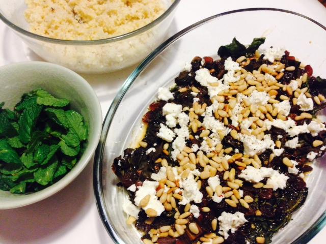 Ofen-Mangold und Spinat