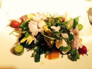 Gemischter salat mit Kirschblüten