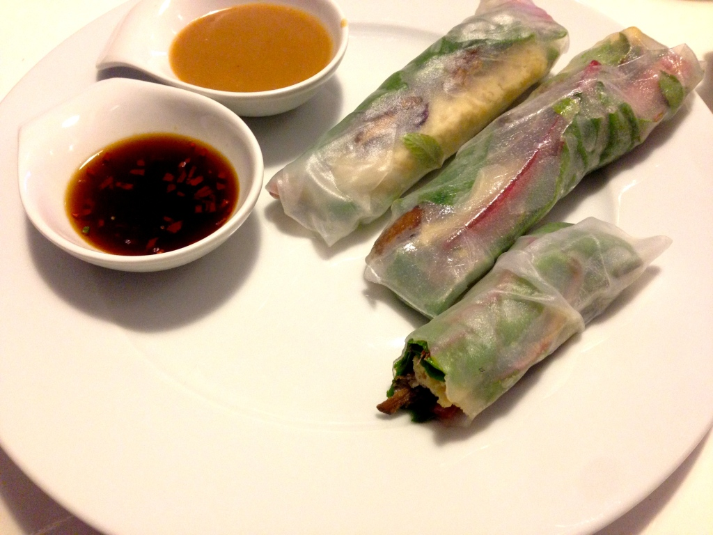 Reispapierrollen mit Parasol und Mangold