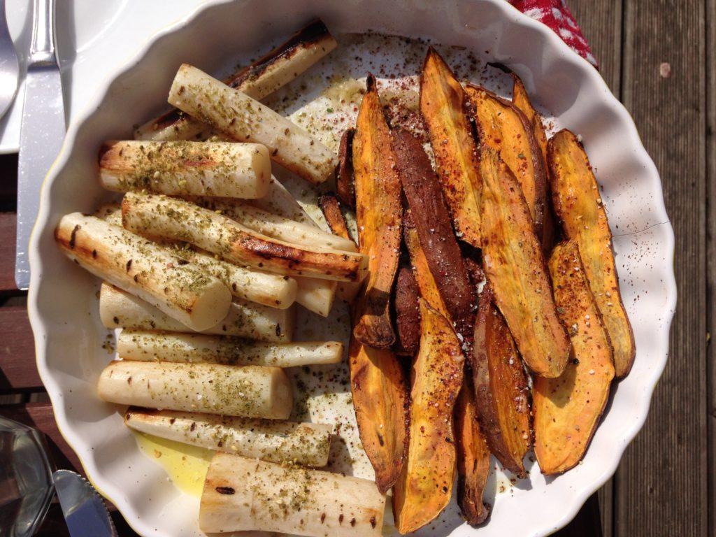 Schwarzwurzeln und Süßkartoffeln mit Zatar