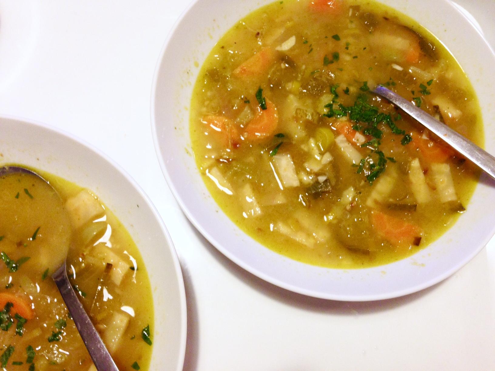 Green tomato soup with salt cured Meyer Lemons