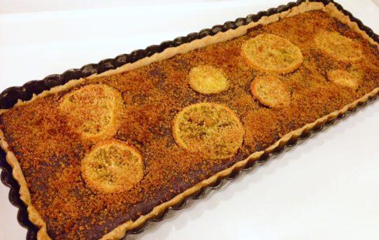 Schoko-Tarte mit kandierten Clementinen