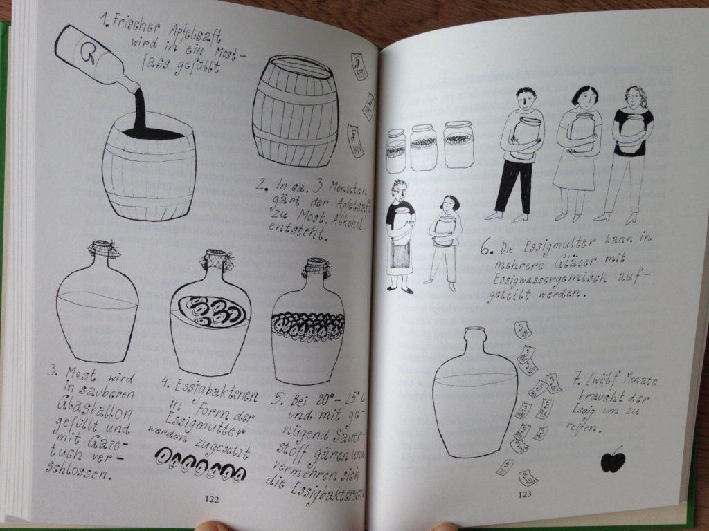 Illustrationen zur Essig-Herstellung
